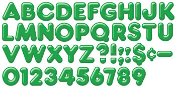 READY LETTERS 4 INCH 3-D GREEN