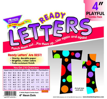 NEON DOTS READY LETTERS 4IN UPPER