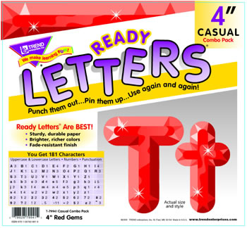 RED GEMS READY LETTERS 4IN UPPER