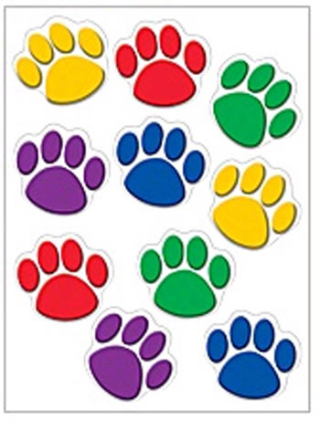 ACCENTS COLORFUL PAW PRINTS