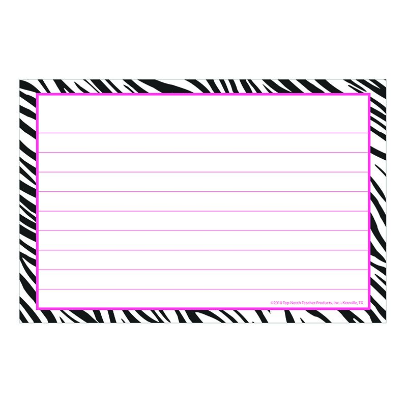 BORDER INDEX CARDS 4X6 ZEBRA LINED