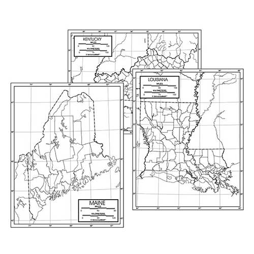 50 STATE OUTLINE MAP SET LAMINATED